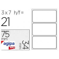 Étiquette adhésive apli agipa bureau 34x75mm pochette 21...