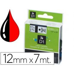 Ruban titreuse dymo d1 12mmx7m coloris impression noir/rouge