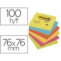 Bloc-notes post-it couleurs énergiques 76x76mm 100f...