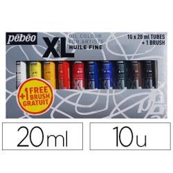 Huile fine pébéo xl 10 tubes assortis 20ml + 1 brosse...