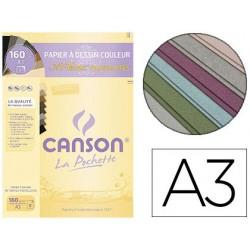 Papier dessin canson mi-teintes 160g a3 coloris pastel...