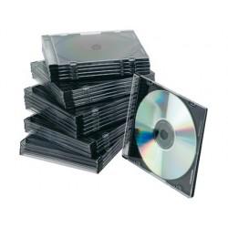 Boîtier cd/dvd q-connect slim coloris noir boîte 25 unités