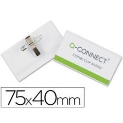 Badge q-connect pvc rigide transparent pince ou épingle...