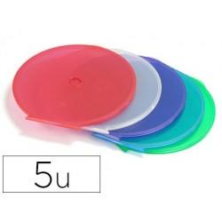 Boîtier cd fin rond pack 5 unités couleurs assorties