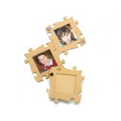 Cadre photo en bois à décorer forme puzzle 19x19cm lot 8...
