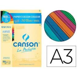 Papier dessin canson mi-teintes 160g a3 coloris vifs...