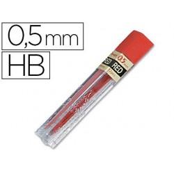Mine pentel 0.5mm hb coloris rouge étui 12 unités