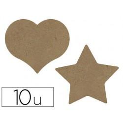 Dessous de verre gomille en bois forme coeur et étoile...