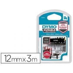 Ruban dymo d1 polyester adhésif permanent 12mmx3m blanc/noir