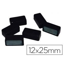 Aimant rectangulaire 25mm coloris noir blister 6 unités