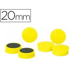 Aimant rond 20mm coloris jaune blister 6 unités