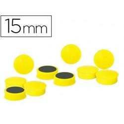 Aimant rond 15mm coloris jaune blister 10 unités