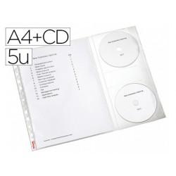 Pochette perforée esselte a4 + cd sachet 5 unités