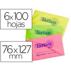 Bloc-notes post-it tartan 76x127mm 100f/bloc...