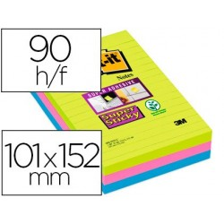 Bloc-notes post-it super sticky grand format 101x152mm...