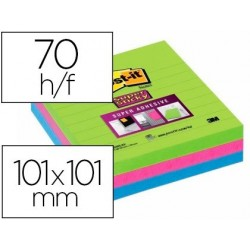 Bloc-notes post-it super sticky couleurs miami 101x101mm...