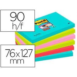 Bloc-notes post-it super sticky couleurs miami 76x127mm...