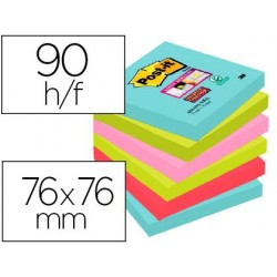 Bloc-notes post-it super sticky couleurs miami 76x76mm...