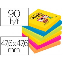 Bloc-notes post-it super sticky couleurs rio 47.6x47.6mm...