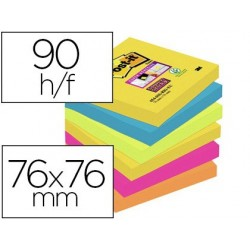 Bloc-notes post-it super sticky couleurs rio 76x76mm 90f...