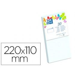Enveloppe oxford vélin 110x220mm 120g coloris blanc étui...