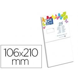 Carte oxford vélin 106x210mm 240g coloris blanc étui 25...