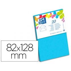 Carte oxford vélin 82x128mm 240g coloris bleu ciel étui...