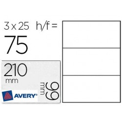 Carte correspondance avery 260g 210x99mm format a4 bords...