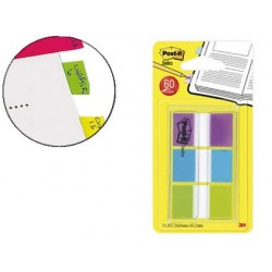 Marque-pages post-it standard index 25x44mm 60f 3 coloris...