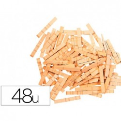Pince en bois coloris naturel 48x7mm sachet de 48 unites