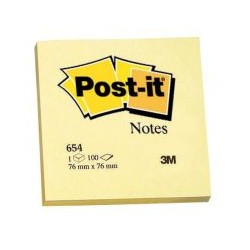 Bloc post-it note 654 jaune 76x76 (x12)