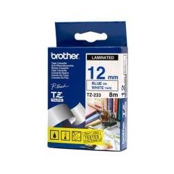 Cassette ruban TZE233 12mm bleu blanc