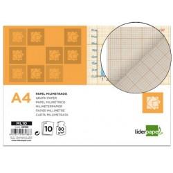 Papier millimétré liderpapel 1mm 80g/m2 feuille a4...