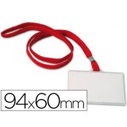 Badge q-connect lacet rouge plastique rigide congrès...