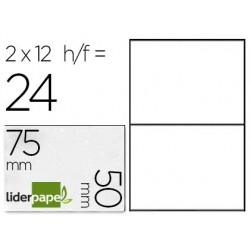 Étiquette adhésive liderpapel 50x75mm coloris blanc...