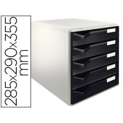 Module classement leitz 5 tiroirs coloris gris/noir