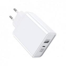 Chargeur secteur 2 ports usb-a et usb-c pour  smartphone...