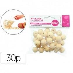 Perles en bois graine creative diametre 18mm sachet 30...