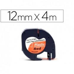 Ruban titreuse q-connect 12mm x 4 mt noir-rouge letratag...