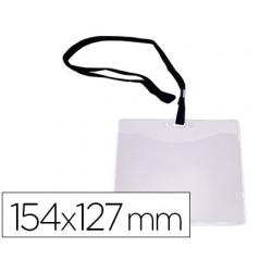 Badge q-connect lacet noir pvc interieur carte blanche...
