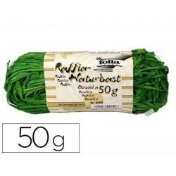 Raphia végétal brin 1m pelote 50g coloris vert moyen