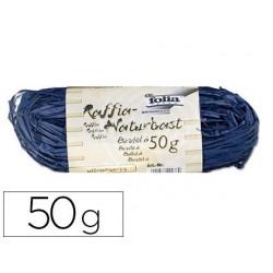 Raphia végétal brin 1m pelote 50g coloris bleu