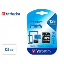 Micro sdhc verbatim 128gb classe 10 avec adaptateur ideal...