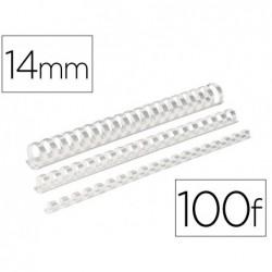 Reliure plast 14mm blanc b/100
