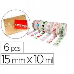 Rubans adhesifs sodertex theme noel 15mm x 10ml 6 pcs