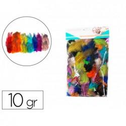 Plumes de pintade theme pastel multicouleurs 10g 47cm 10...