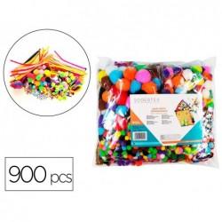 Pack creatif sodertex de 900 pcs avec pompons normaux et...