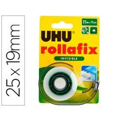 Ruban adhesif uhu rollafix invisible avec devidoir 25mx19mm