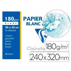 Papier dessin clairefontaine blanc grain fin 180g a4+...