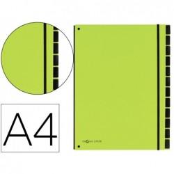 Trieur durable carte rigide a4 12 compartiments coloris vert